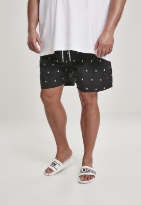 Pantaloni scurti inot Embroidery negru-alb Urban Classics skull