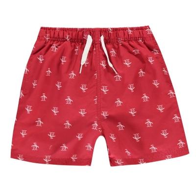 Pantaloni scurti inot Original Penguin cu imprimeu rosu