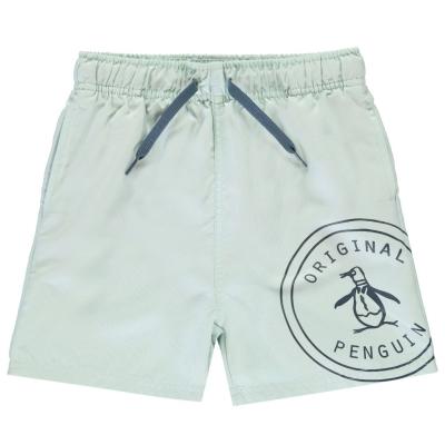 Pantaloni scurti inot Original Penguin Logo pastel albastru