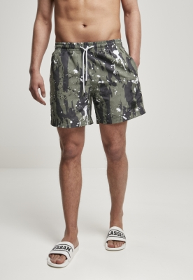 Pantaloni scurti inot Pattern alb-buline Urban Classics camuflaj multicolor