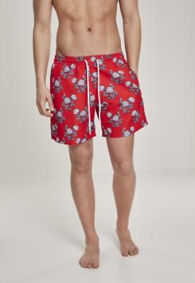 Pantaloni scurti inot Pattern rosu-foc Urban Classics roz