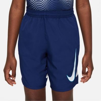 Pantaloni scurti Nike Dri-FIT Academy Big imprimeu Graphic Soccer pentru Copii albastru negru alb