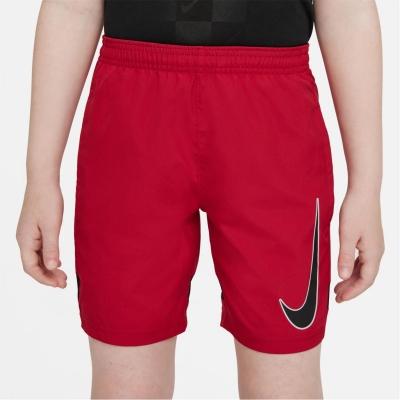 Pantaloni scurti Nike Dri-FIT Academy Big imprimeu Graphic Soccer pentru Copii rosu negru