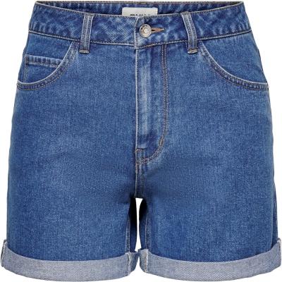Pantaloni scurti Only cu talie inalta Mom . denim albastru