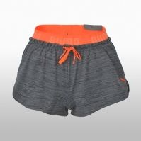 Pantaloni scurti gri cu portocaliu Puma Transition Drapey Shorts W Dar Femei