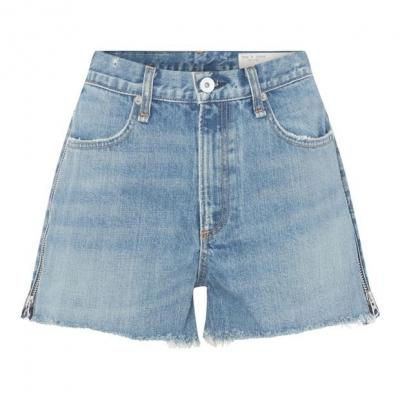 Pantaloni scurti Rag and Bone Maya cu talie inalta albastru
