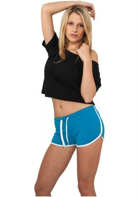Pantaloni scurti sport femei turcoaz-alb Urban Classics