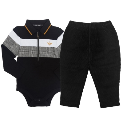 Pantaloni Set bebelusi Firetrap Two Piece pentru baieti cord negru