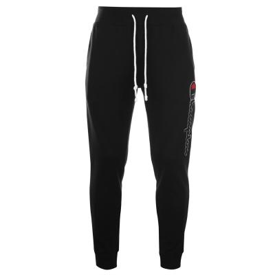 Pantaloni sport Champion cu imprimeu mare cu mansete negru