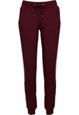Pantaloni sport College contrast pentru Femei visiniu-alb Urban Classics negru