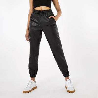 Pantaloni sport Firetrap PU negru