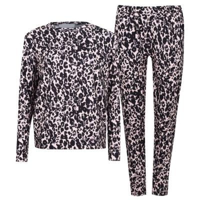 Pantaloni sport Set Treninguri Miso Top and cu mansete Loungewear Co Ord roz