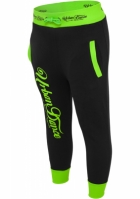 Pantaloni trei sferturi sala cu imprimeu pe spate negru-verde Urban Dance neon