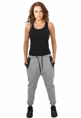 Pantaloni trening dama cu buzunar imitatie piele gri Urban Classics