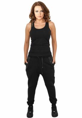 Pantaloni trening dama cu buzunar imitatie piele negru Urban Classics