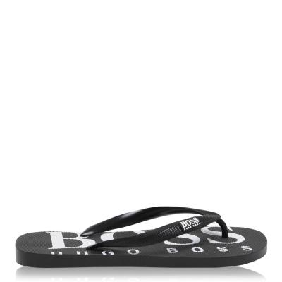 Papuci de plaja BOSS cauciuc Logo negru alb