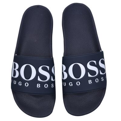 Papuci plaja BOSS Logo bleumarin
