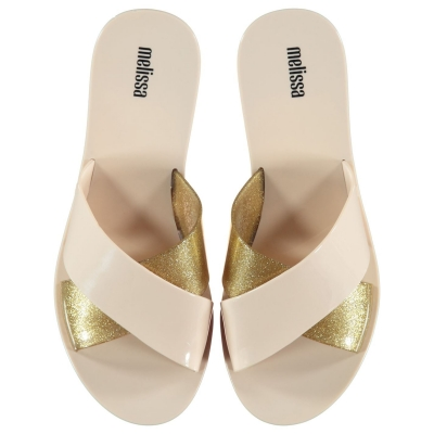 Papuci plaja Melissa Essential ivory auriu glit