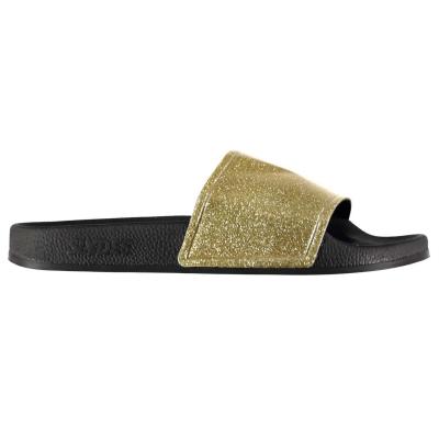 Papuci plaja Slydes Champagne Glitter auriu