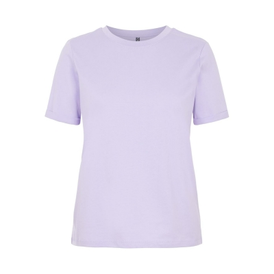 Tricou Pieces bumbac cu Fold Up Sleeves mov