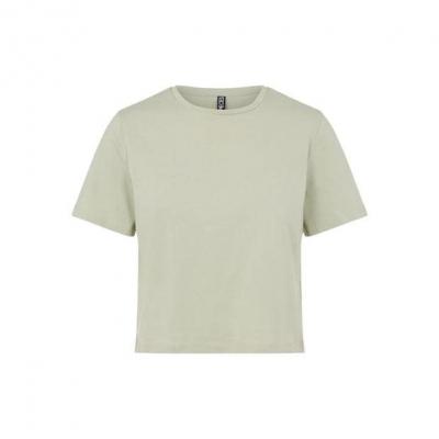 Tricou Pieces cu Maneca Scurta Crop bej verde