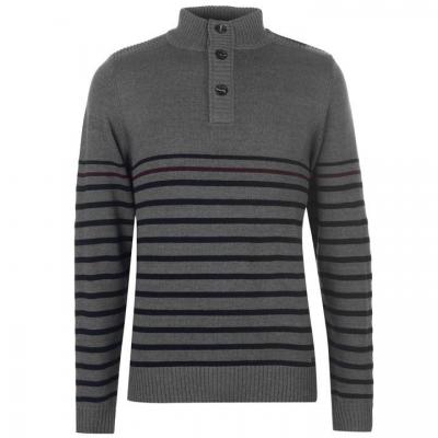 Pierre Cardin Button Neck tricot pentru Barbati gri marl negru