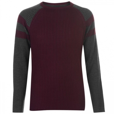 Pierre Cardin Ribbed Crew tricot pentru Barbati rosu burgundy char m