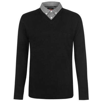 Pulovere tricotate Pierre Cardin Mock cu decolteu in V pentru Barbati negru