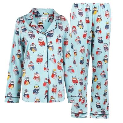 Pijamale Bedhead Wise Owl cu Maneca Lunga rosu