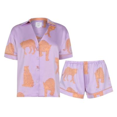 Pijamale Chelsea Peers Tiger cu Maneca Scurta roz