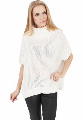 Poncho tricotat dama alb-murdar Urban Classics