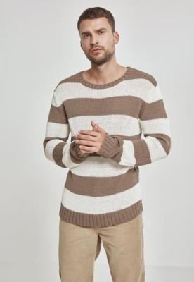 Pulover cu dungi bej-alb Urban Classics murdar