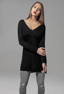 Pulover lejer tricot fin cu decolteu in V pentru Femei negru Urban Classics