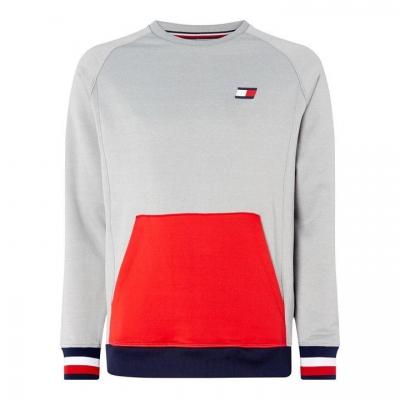 Pulover Tommy Sport Colour Block cu buzunar gri mov