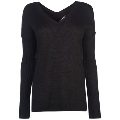 Pulovere Firetrap cu decolteu in V tricot Pointelle pentru Femei negru lurex