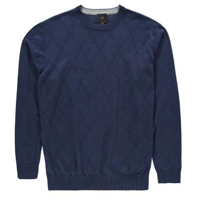Pulovere Fusion Textured cu guler rotund pentru Barbati albastru deschis
