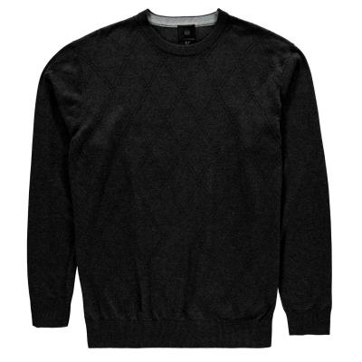 Pulovere Fusion Textured cu guler rotund pentru Barbati negru