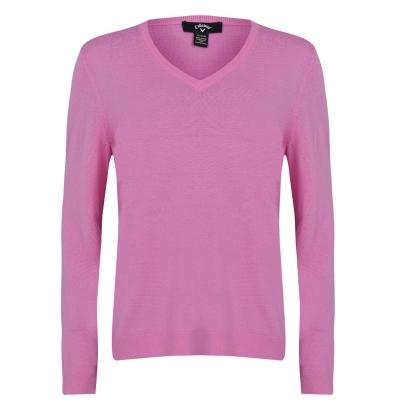 Pulovere tricotate Callaway cu decolteu in V pentru Femei fucsia roz