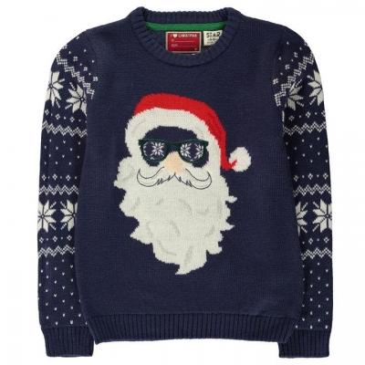 Pulovere tricotate Craciun pentru baietei bleumarin santa