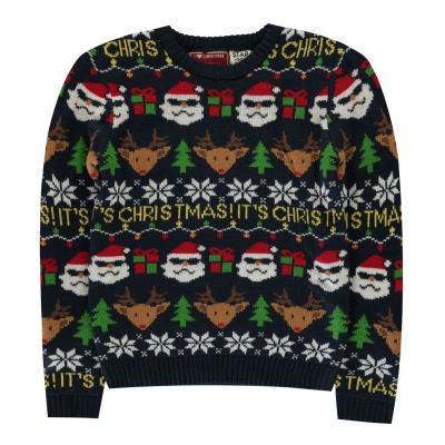 Pulovere tricotate Craciun pentru baietei bleumarin fairisle