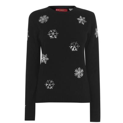 Pulovere tricotate Craciun pentru Femei negru snowflake