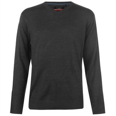 Pulovere tricotate Pierre Cardin cu decolteu in V pentru Barbati gri carbune