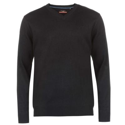 Pulovere tricotate Pierre Cardin cu decolteu in V pentru Barbati bleumarin