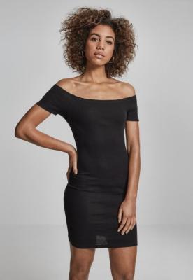 Rochie urban stramta cu maneca scurta cu umerii goi pentru Femei negru Urban Classics