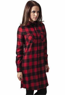 Rochii tip camasa in carouri negru-rosu Urban Classics