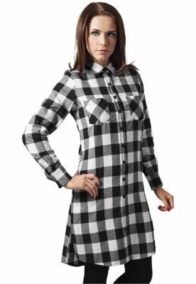 Rochii tip camasa in carouri negru-alb Urban Classics