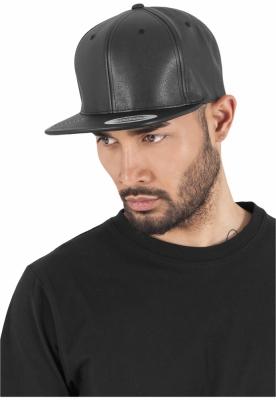 Sepci rap snapback din piele ecologica negru-negru Flexfit