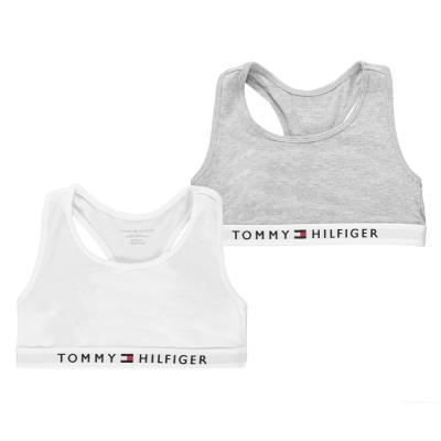 Set 2 Tommy Hilfiger Logo Bras pentru fetite gri alb 0ud