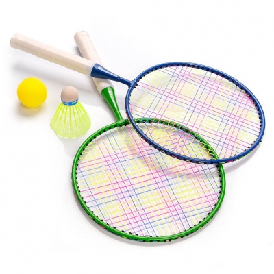 Set Badminton Meteor Enjoy 2 Racket verde albastru 15040 pentru copii