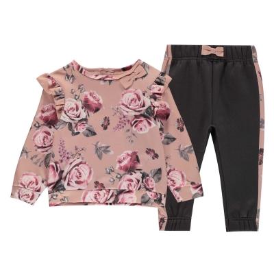 Set bebelusi Firetrap Crew 2 Piece pentru fete roz floral